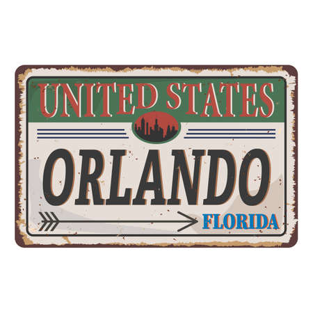 Welcome to Orlando vintage rusty metal sign on a white background, vector illustration.