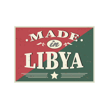 Made In Libya. greeting card Logo Icon Symbol. Design Certificated Standard-Bild - 133510487