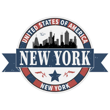 Grunge rubber stamp with name of New York, New York City, vector illustration. Ilustração