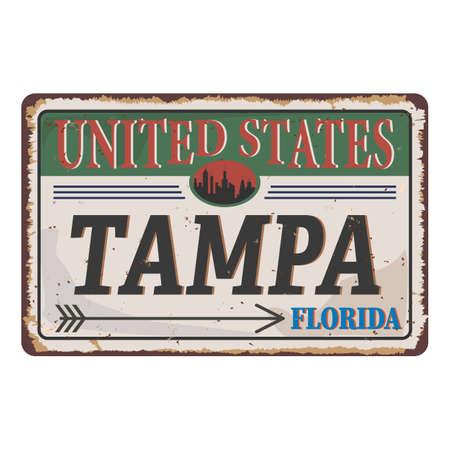United Sates Tampa, Florida, USA, United States of America colors, vintage, grunge texture rusty sign 向量圖像