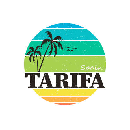 Spain, Tarifa, poster, banner, flyer, postcard, typography, t-shirt graphics, vector