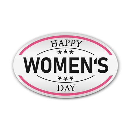 a red icon with some text for womens day badge sign
