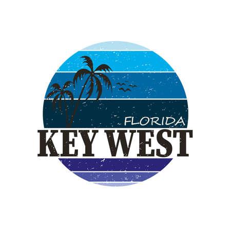 Destinazione di viaggio a Key West. emblema rotondo camicia vettoriale Vettoriali