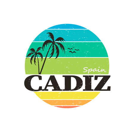 Cadiz palm badge stamp on white background in editable vector file Çizim