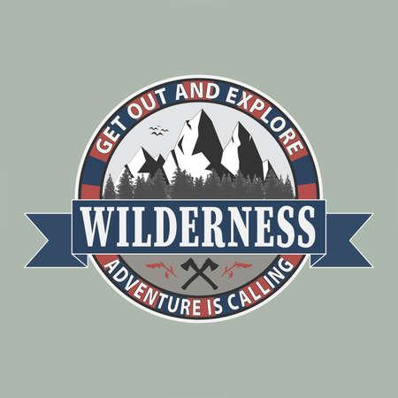 get out and explore outdoor adventure Illustration Vintage mountain campfire Ilustração Vetorial