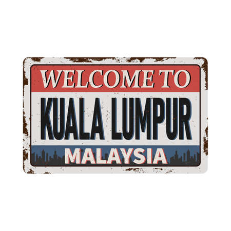 Malaysia Kuala Lumpur rusted vector. graphic for design element