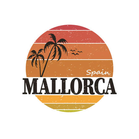 Vector summer illustration of Mallorca, Spain. Round isolated elements on white background. Can be used as a sticker, print for t shirts