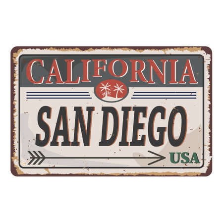 California San Diego vintage rusty metal sign on a white background, vector illustration