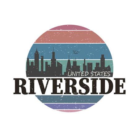 riverside city round grungy tee graphic design