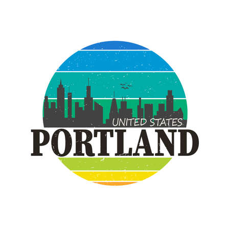 Portland Oregon Skyline Souvenir Travel Vector Art Design Tourism