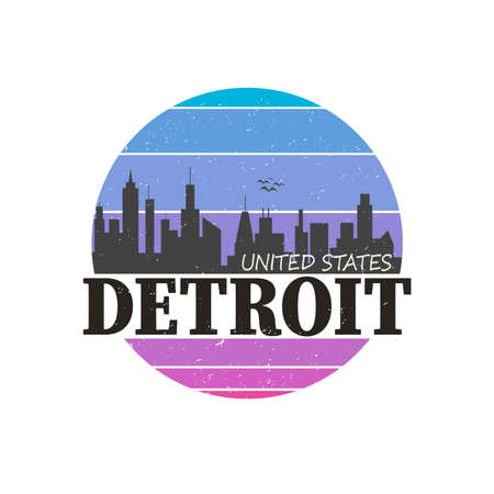 Detroit City design for t shirt and apparel
