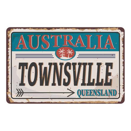 Townsville city queensland australia rusty metal plate . Vector design illustrations
