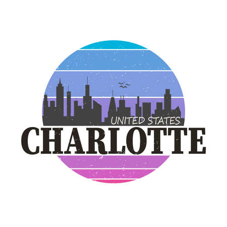 Charlotte Skyline Button Icon Round Flat Vector Art Design Color Background