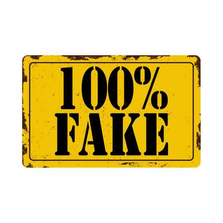 100 percent fake YELLOW GRUNGY STAMP on a white background Ilustração