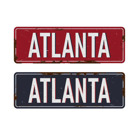 Vintage tin sign. Atlanta. Retro souvenirS or old postcard templateS on rust background. Stock Illustratie