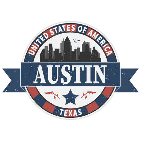 Stamp or label with text Austin, Texas inside, vector illustration Vector Illustration