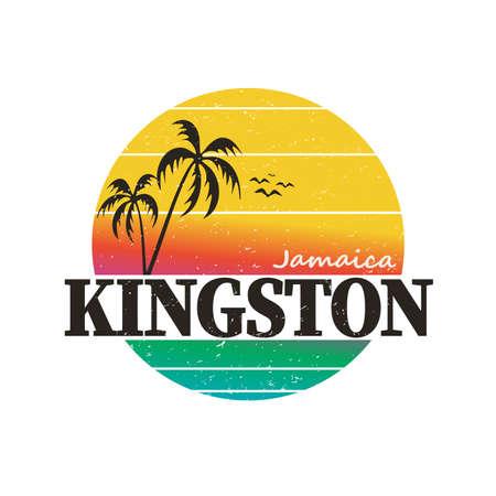 Kingston jamaica paradise vintage sunset palm tree distressed poster beach apparel Vetores