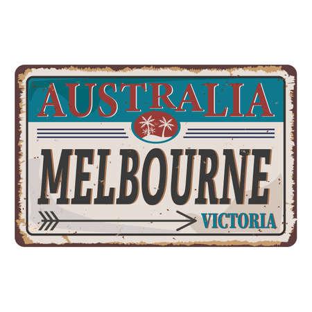 Melbourne Victoria Australia tin rusty web sign Иллюстрация