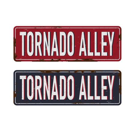 Tornado Alley rustet sign vector illustration for graphic art. Ilustración de vector