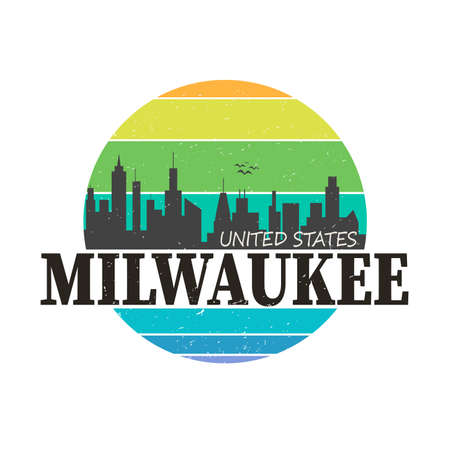 Milwaukee city logo in colorful vector shirt design Logo