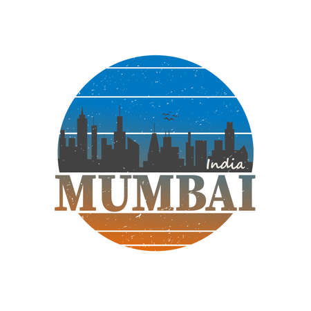 Mumbai, poster, sticker design, apparel print, greeting card or postcard. Graphic slogan isolated on white background. Vector illustration.