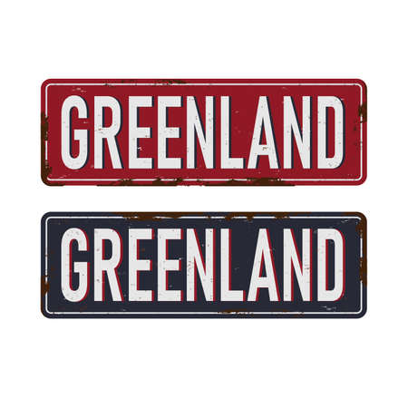 greenland rusted plates sign badge travel theme