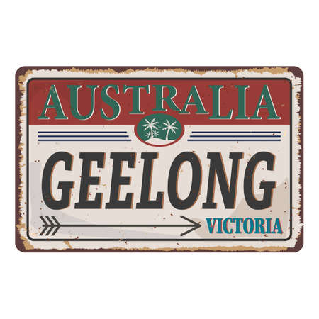 Vintage Geelong Victoria Australia tin rusty web sign 일러스트