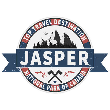 Top travel destination Jasper National Park Canadian mountains icon. Simple illustration of Canadian mountains vector icon for web 矢量图像