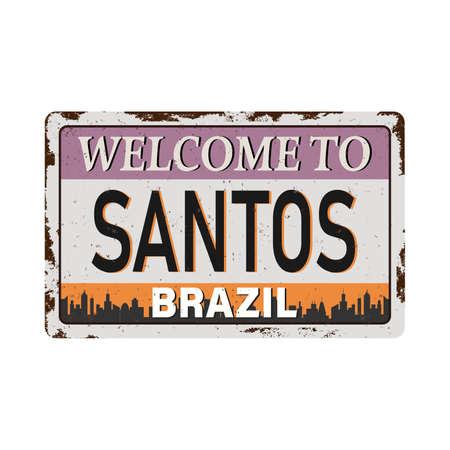 Santos city brazil silhouettes. rusty metal grungystreet sign Design. Vektoros illusztráció