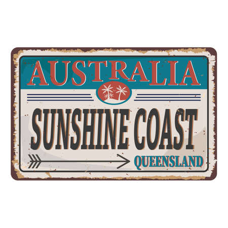 Sunshine Coast metal sign Text with grunge design style. Rubber seal stamp with dirty texture. Ilustração