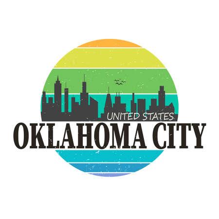 Oklahoma City Skyline Logo. Adventure Landscape Design. Vector Illustration Cut File.