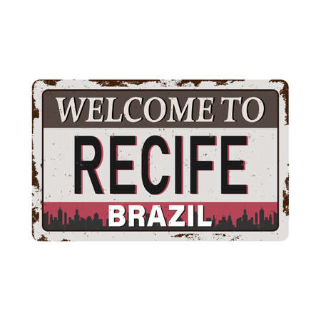 Recife Brazil Travel rusted sign Icon Skyline City Design Tourism