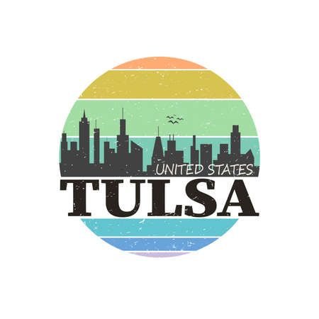 Abstract skyline Tulsa, with various landmarks, vector illustration