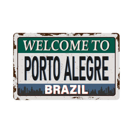 welcome to Porto Alegre Brazil Vintage metal sign board graphics set. Rusty effect tin plate 向量圖像