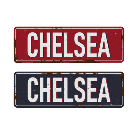chelsea Vintage metal sign board graphics set. Rusty effect tin plate