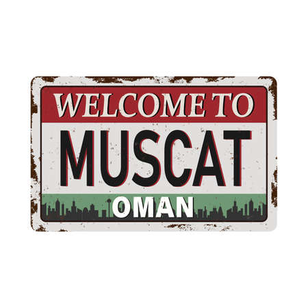rusted metal label with text Muscat, Oman inside, vector illustration