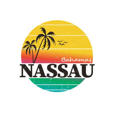 Nassau Bahamas. Tema di viaggio e vacanza. disegno della maglietta