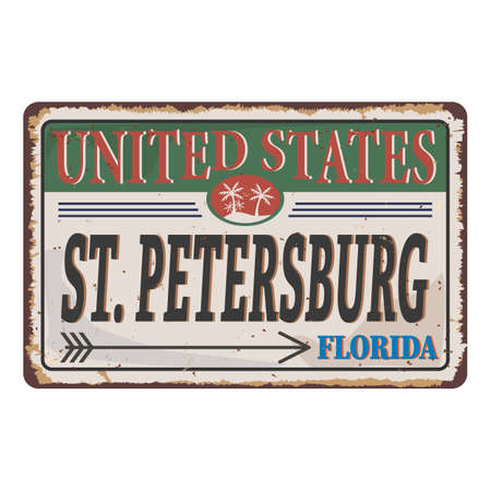 Vintage Touristic metal sign - St. Petersburg, Florida . Grunge effects can be easily removed for a brand new, clean sign.
