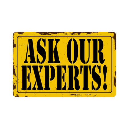 ask our experts Vintage metal sign board graphics set. Rusty effect tin plate