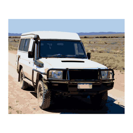 Offroad white car in the australian outback vector illustration. 일러스트