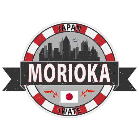 Morioka, Japan wen grungy rubber stamp badge 일러스트