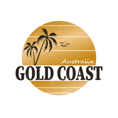 Vector illustration on the theme of surfing in Australia, Gold Coast City. Typography, t-shirt graphics, poster, banner, flyer, postcard