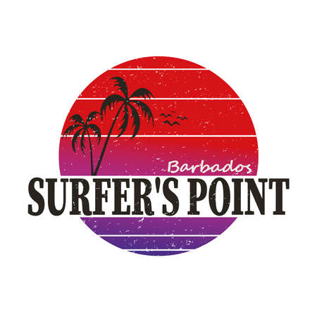 Inspirational print. Atlantic Ocean surfers point label. Barbados coast surf riders emblem with palm,