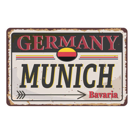 Munich vintage rusty metal sign on a white background, vector illustration