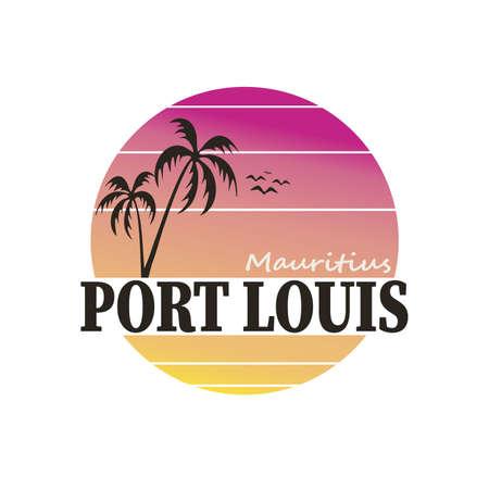 Mauritius Port Louis Emblema. Vector Design National. Illustration Country Symbol. Insignia Banner Logo. Logos