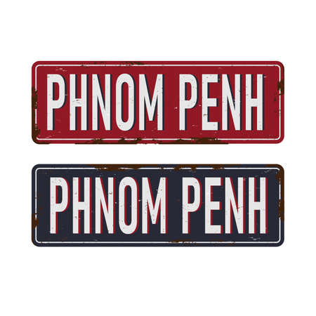 Phnom Penh old metal road sign on a white background