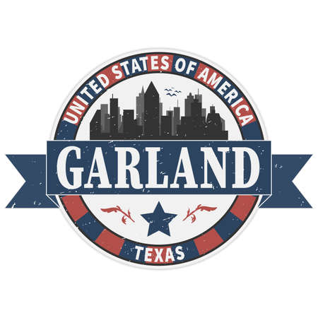 Stamp or label with text Garland, Texas inside, vector illustration 版權商用圖片 - 136314484