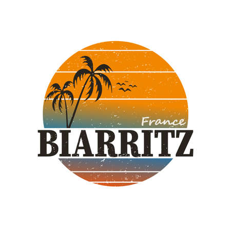 Biarritz France surfer stamp or sign, vector illustration 向量圖像