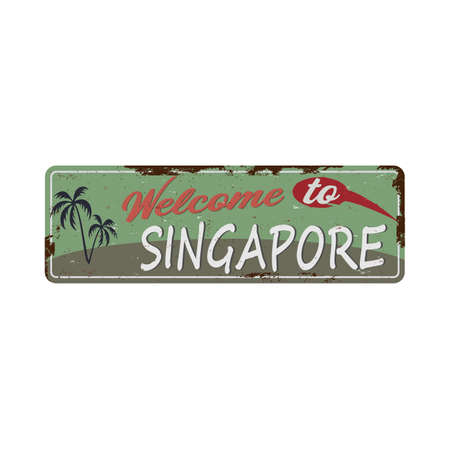 Welcome to Singapore, rusted metal signal vector. 版權商用圖片 - 136115898