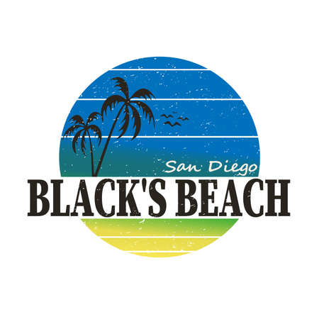 Surfing artwork. Blacks beach San Diego California. T-shirt apparel print graphics. Original graphic Tee